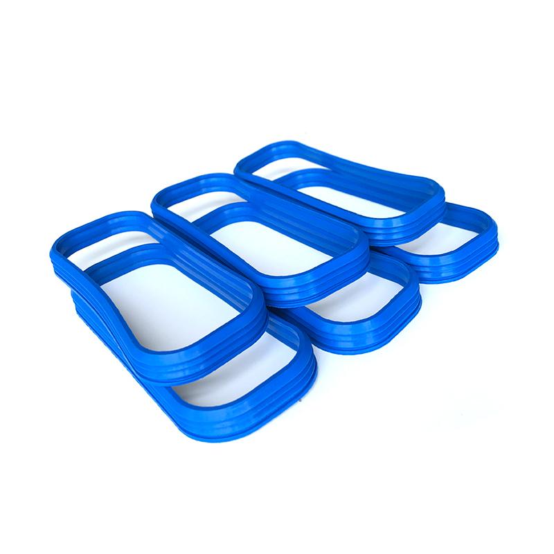 Junta rectangular de silicona corrugada dentada azul retardante de llama